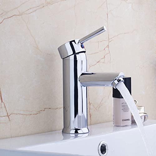 ZHQJY Grifo de lavabo de estilo moderno Grifo monomando para lavabo de sobre encimera Latón macizo