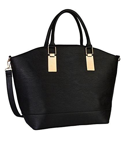 SIX Große Tasche für Damen: Geräumige Umhängetasche im Shopper Stil, 2 Henkel und Abnehmbarer Riemen, Kunstleder (vegan), schwarz (427-400)