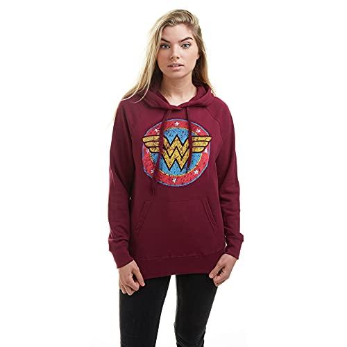dc comics Wonder Woman Classic Sweat-Shirt À Capuche, Rouge (Burgundy Blue), 38 (Taille Fabricant: Small) Femme
