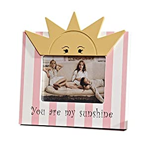 "Wood 6 Inches Nursery Room Decorative Picture Frame""You are My Sunshine"" Picture Frame for Toddler Children (Pink)"