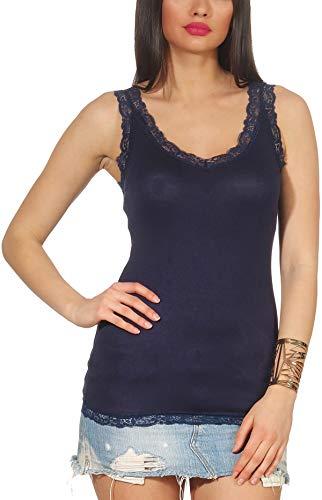 StyleLightOne - Camiseta fina con tirantes y encaje para mujer, sexi y elástica (tallas 36-42) azul marino 38