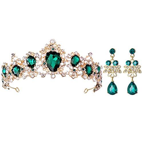 KALLORY Conjunto de Tiaras Y Pendientes de Boda de Diamantes de Imitación para Mujer Diadema con Corona de Diamantes de Reina Accesorios para El Cabello de Cristal Verde