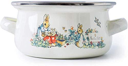 Jooyouo-TH Braadpan Gerechten Dikke Emaille Rijst Granen Bowl Dessert Stereofonisch Soep Pot Huishoudelijke Ese Servies Gekoelde Verse Bowl Met Glas Cover