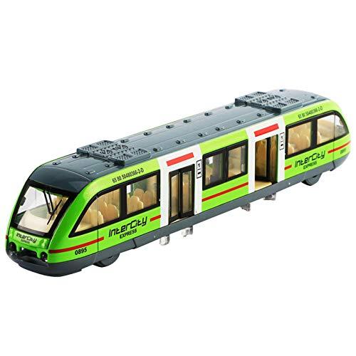 fllyingu Triebwagen Spielzeug Zug Spielzeug, Cartoon U-Bahn Modell Mit Licht Und Zu Öffnende Tür, Sichere Legierung Simulation Zug Spielzeug Für Kinder, Gelb/Rot/Grün/Blau