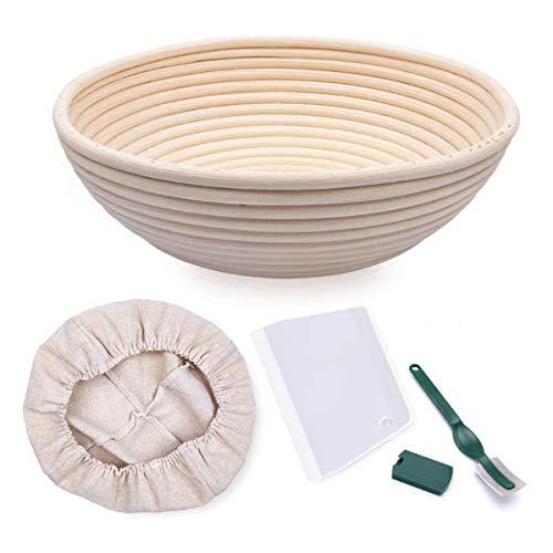 Gärkorb rund Durchmesser 22cm für Brot und Teig mit Lieneneinsatz, Brotlame und Teigschaber.