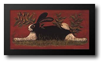 Red Folk Bunny 20x12 Framed Art Print by Hilliker Lisa