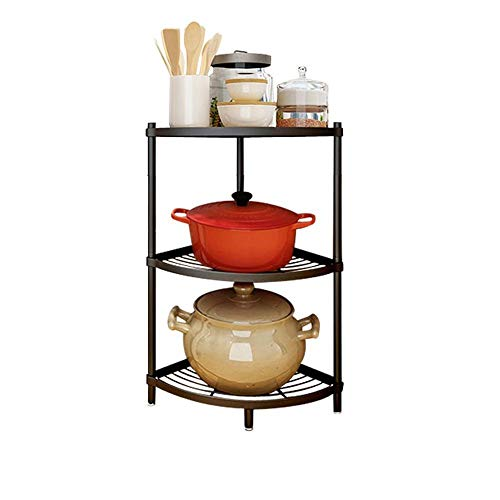 3-Tier Kitchen Corner Shelf Rack Multi-Layer Pot Rack Storage Organizer Stainless Steel Shelves Shelf Holder