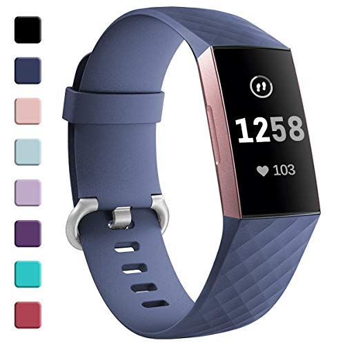 GEAK Strap Compatible for Fitbit Charge 3/Fitbit Charge 4, Adjustable Classic Replacement Wristband for Fitbit Charge 3/Fitbit Charge 4 Activity Tracker Women Men, Small BlueGrey