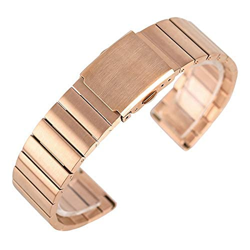 ZJSXIA 18/20/22/24mm Fashion Stainless Steel Wristwatch Band Adjustable Watch Straps Metal Bangle Solid Link Bracelet +2 Spring Bars Watch Strap Watch Bands (Color : Rose Gold, Size : 18mm)