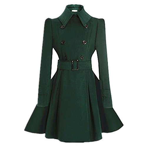 ForeMode Women Swing Double Breasted Wool Coat with Belt Buckle Spring Long Sleeve Lapel Dresses Outwear(Green L)
