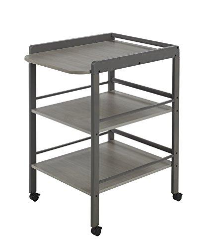 Geuther Table à Langer Clarissa grise, Plan à langer + 2 étagères, roulettes
