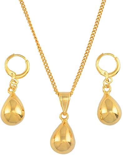 niuziyanfa Co.,ltd Halskette Kleine Wassertropfen Schmuck Sets Gold Farbe Anhänger Halsketten Ohrringe Set Für Frauen Mädchen African Arab Geschenke