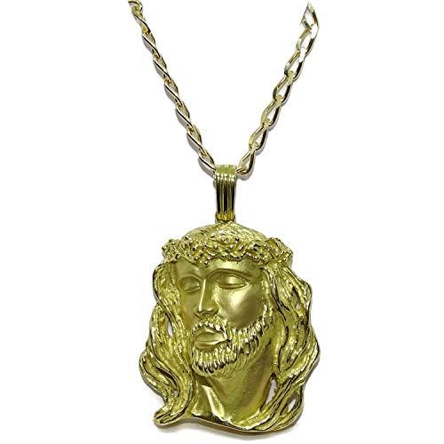 Never Say Never Cara de Cristo Muy Grande de Oro Amarillo de 18k con Cadena Bilbao Maciza de Oro Amarillo de 18k de 3mm de Ancha y 60cm de Larga.34.65gr de Oro de 18k