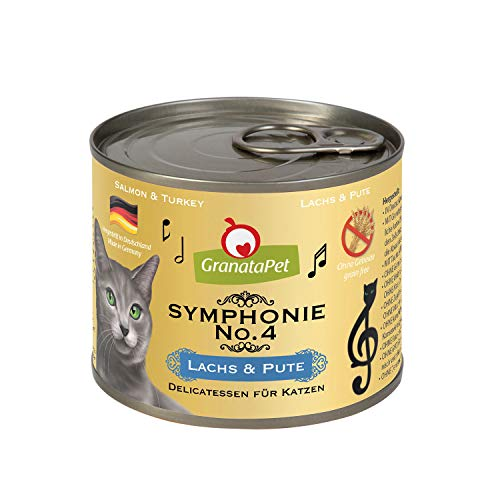 GranataPet Symphonie No. 4 Salmón & Pavo, Comida para Gatos sin Cereales ni aditivos de azúcar, Filet en Jalea Natural, Delicado alimento húmedo para Gatos, 6 x 200 g