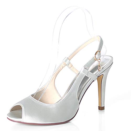 LGYKUMEG Hochzeitsschuhe geeignet für die Braut, Damen Schimmer Satin Low-Heel Schlinge und Spitzen Zehenknoten Detail Braut Hochzeit Gericht Schuhe 9cm,08,EU39