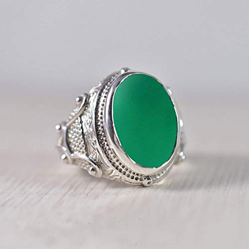 925 Sterling Silver Ring, Oval Flat, Green Onyx Gemstone Ring, Handicraft, Statement Jewelary, Celtic Ring, Heavy, Designer, High Polished, Natural Green Onyx, Men's, Boys, Birthday Gift Jewelry