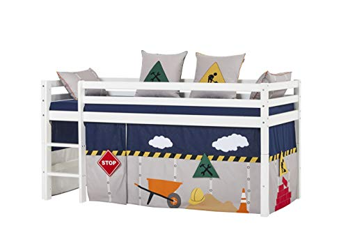 Hoppekids Basic Halbhohes Bett mit Matratzen und Construction Vorhänge, Kiefer massiv und Baumwolle, Weiß, 208 x 101 x 105 cm