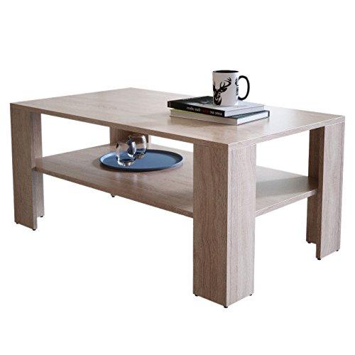 Newroom salontafel woonkamertafel bruin hout sonoma eiken rechthoekig tussenplank modern
