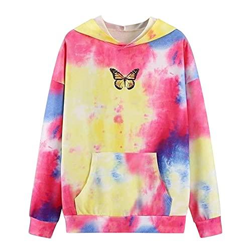 Zldhxyf Sudadera con capucha para adolescentes y niñas, con diseño de arcoíris, informal, holgada, de manga larga, elegante, amarillo-1, XL