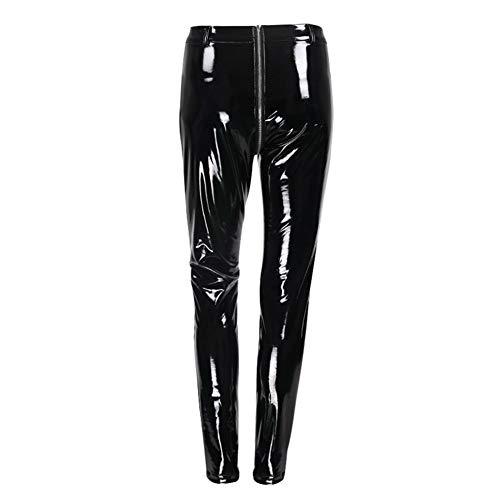 Polainas de cuero de las mujeres atractiva brillante de la PU con la cremallera Volver empuja hacia arriba los pantalones de cuero de imitación de los pantalones de látex de caucho Jeggings Negro Rojo