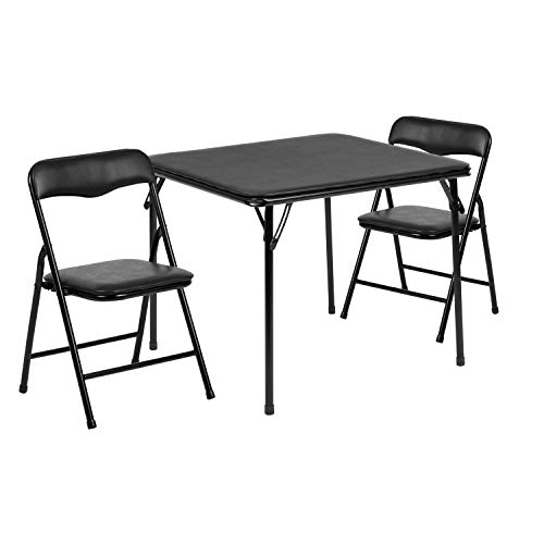Flash Furniture Kids Black 3 Piece Folding Table and Chair Set