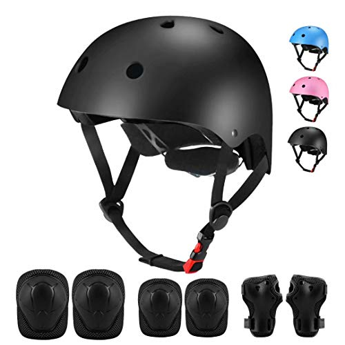 Kids Bike Helmet, Adjustable Toddler Helmet for Boys Girls Ages 3-8, Skateboard Helmet with Protective Gear Set Knee Pads and Elbow Pads for Skateboarding, Roller Skating, Cycling, Scooter
