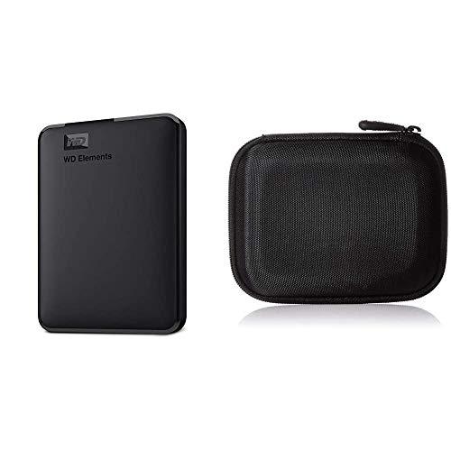WD Elements Portable, Externe Festplatte - 1 TB - USB 3.0 - WDBUZG0010BBK-WESN & Amazon Basics Festplattentasche, schwarz
