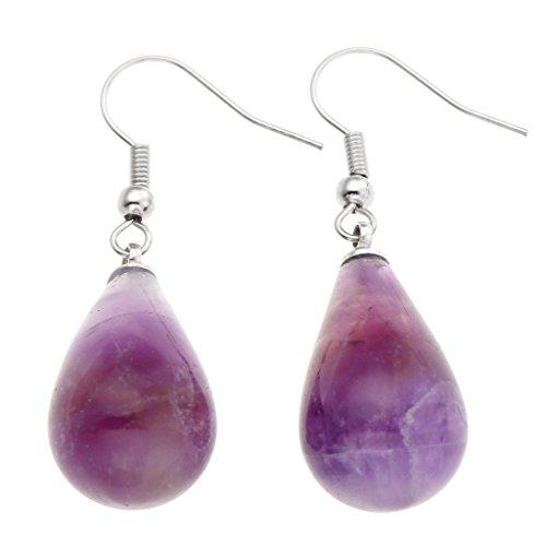 JOVIVI Womens Natural Amethyst Rose Quartz Opalite Gemstone Chakra Teardrop Dangle Hook Earrings 43mm Long,Mothers Day Gifts