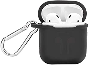 MODMYMOBILE Rubber Sillicon Shock Proof Protective Airpod Cover Case with Anti-Lost Carabiner Hook for Apple AirPods Wireless Headphone | Black