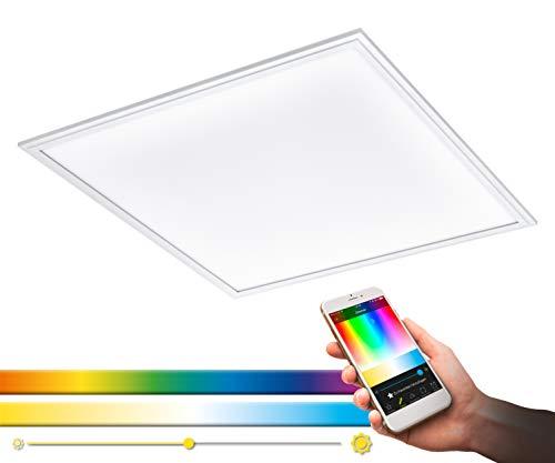 Panel LED de techo EGLO SALOBRENA-C, lámpara de techo Smart Home, material: aluminio, plástico, color: blanco, 59.5 x 59,5 cm, regulable, tonos blancos y colores ajustables