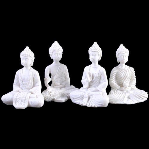 Something Different Thai-Buddha-Figuren, klein, Weiß, 4er-Set