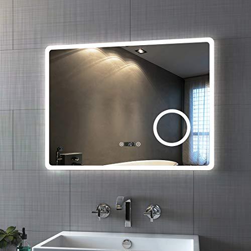 Bath-mann Badspiegel mit Beleuchtung 80x60cm LED Badezimmerspiegel Wandspiegel mit Touch-Schalter, Beschlagfrei, Uhr, Schminkspiegel mit 3-Fach Vergrößerung, Kaltweiß