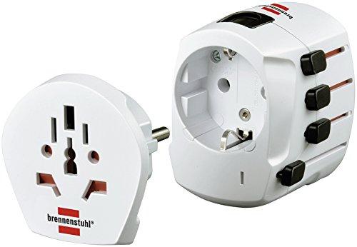 Brennenstuhl Weltreisestecker Adapter, Steckdosenadapter Universal für 2- und 3-poligen Geräte aus aller Welt (1 x Schutzkontaktsteckdose) weiß