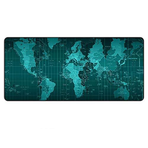 Alfombrilla de ratón con mapa del mundo, alfombrilla de ratón de goma, tamaño grande, para juegos, velocidad de gamer, XXL, antideslizante, borde de bloqueo, para teclado de PC 07