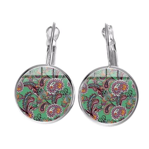 Pendientes de cachemira indios antiguos con diseño de mandala y flor de arte único en cristal redondo hippies colgantes pendientes joyería
