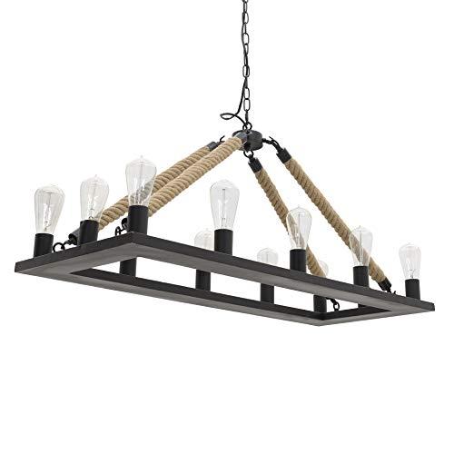 Inart - Lámpara de techo (12 luces, 100 x 40 x 45 cm), diseño de cuerda metálica