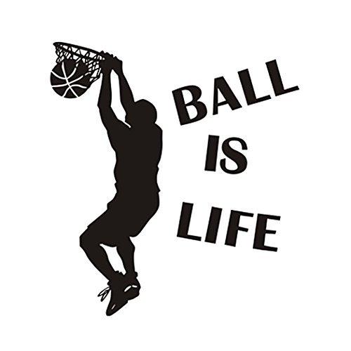 Wandaufkleber Aufkleber Ball ist Leben Wandtattoo - Springen Dunk Basketball Dekorwand - Entfernbarer Wanddeko Sport Style Basketball Wandtattoo für Kinder Jungen Teens von Hatisan-Pro