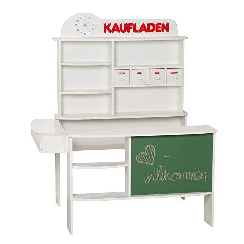 roba Kaufladen, Kinder Kaufmannsladen, Holz weiß, Verkaufsstand mit 4 Schubladen, Uhr, Tafel, Theke & Seitentheke