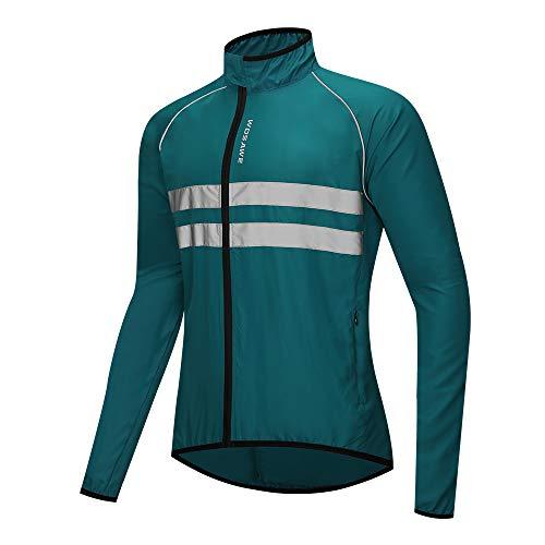 WOSAWE Hombres Ciclismo Chaquetas Impermeable Chaleco Ligero Motocicleta Viento Reflectante Abrigo Correr Montañismo Ropa Deportiva(215 Azul Marino M)
