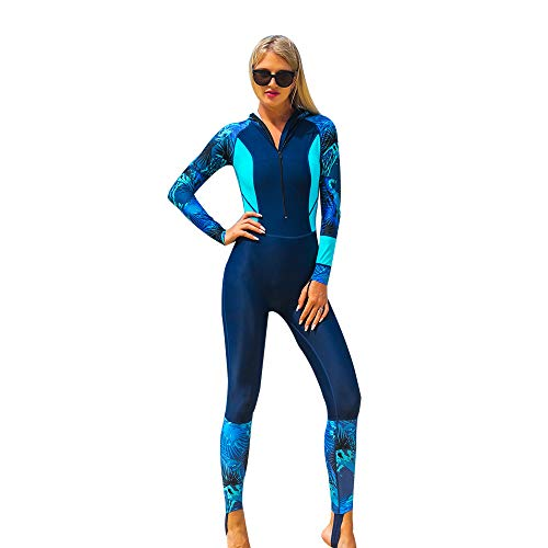 Full Body Rash Guard Dive Skins Lycra Wetsuit Swimsuit Diving Scuba Suits for Women Men Adult, One Piece Swimming Body Suit Sports Skin Long Sleeve Sun Protection for Surfing Snorkeling (Blue, L)