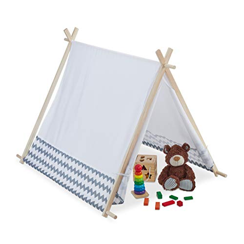 Relaxdays 10035301 Tipi Zelt für Kinder, mit Fenster, Kinderzimmer Zelt, Wigwam Kinderzelt, HxBxT: 92 x 92 x 120 cm, weiß-grau