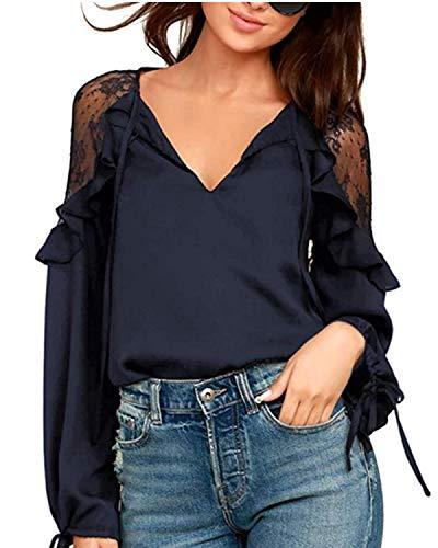 Style Dome Camicette Donna Manica Lunga Elegante Magliette con Scollo a V Camicia Leggero Casuale Top per Primavera Estate E03516-blu S