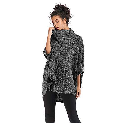 Qiminclo Damenschal Tücher und Wickel Damen/Damen Batwing Quaste Strick Poncho Schals Pullover Outwear Tops (Farbe : Schwarz)