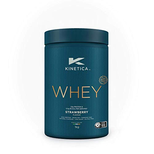 Kinetica Whey Protein Powder, 33 Servings, Strawberry, 1kg. Low Carb, Grass Fed Whey. Ideal for Protein Shakes