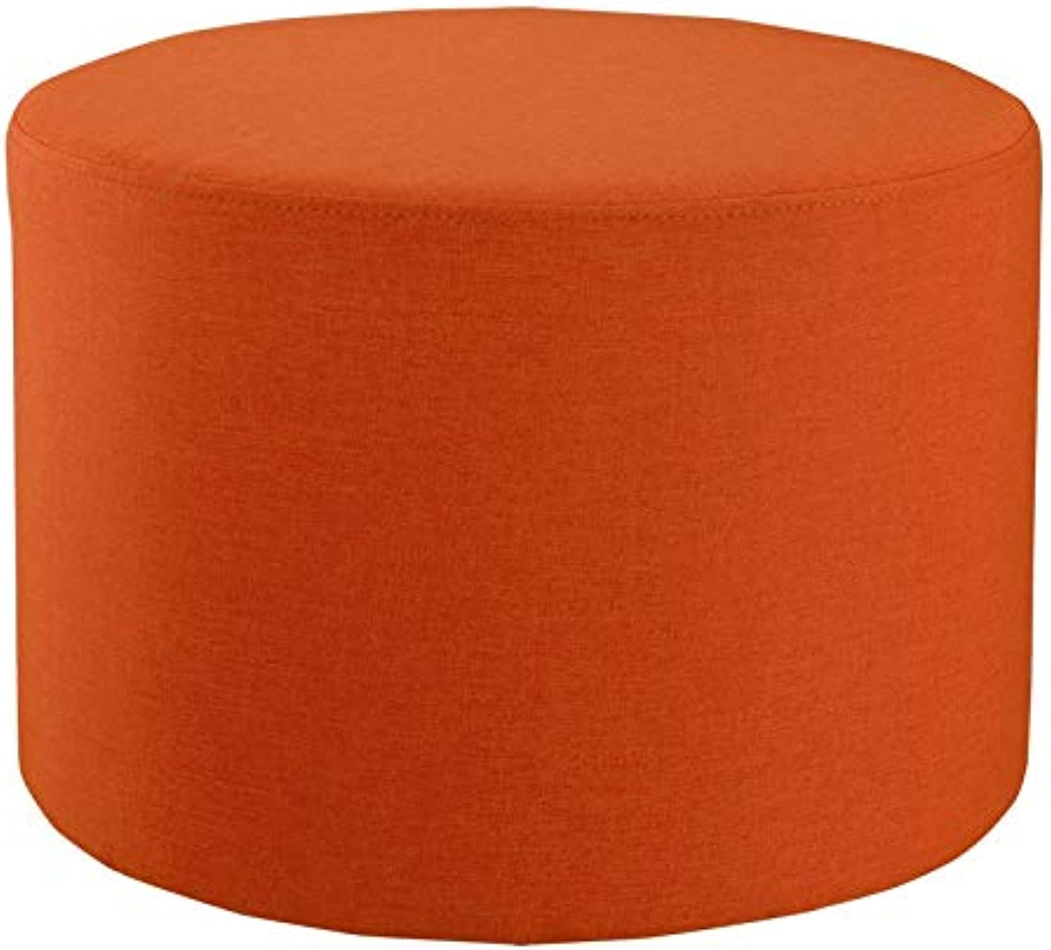 LSXIAO Pouffes And Footstools Solid Wood Stool Retro Cylindrical shoes Bench Stable Non-Slip Load Bearing Cotton and Linen Material, 4 colors (color   orange, Size   50x36cm)