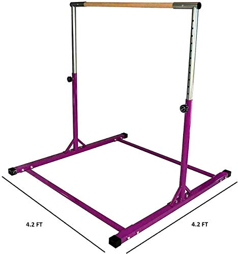 JungleKids Kip Bar Jungle Gym Professional Horizontal Gymnastics Junior Training Asymmetric Bar Height Adjustable Expandable 3 to 5 FT Purple