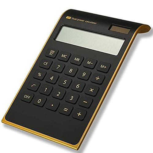 Calculator,Slim Elegant Design,Office/Home Electronics,Dual Powered Desktop Calculator,Solar Power,10 Digits,Tilted LCD Display,Inclined Design,Black(Slim)