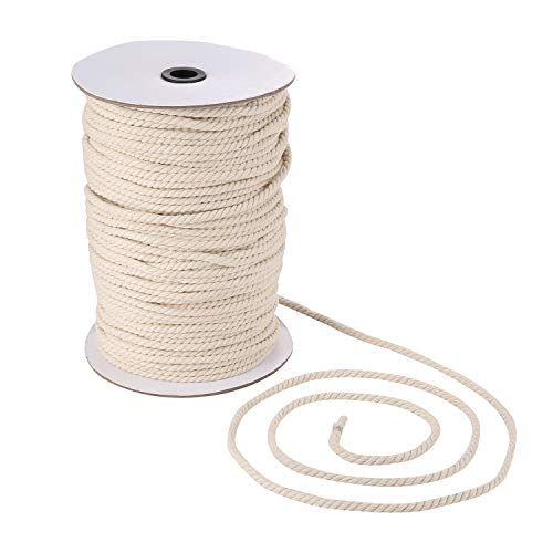 Macrame Cord 6mm x 175yd | 100% Natual Cotton Macrame Rope | 3 Strand Twisted Cotton Cord for Handmade Plant Hanger Wall Hanging Craft Making