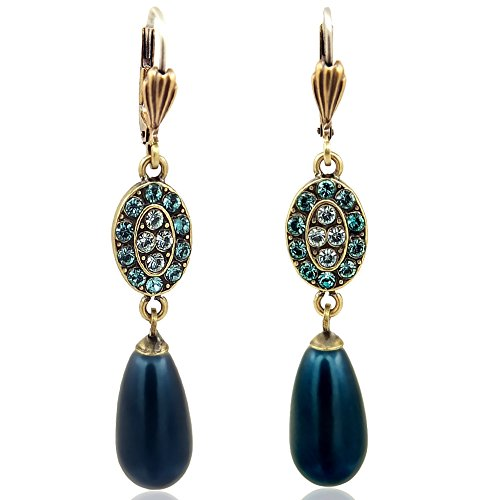 Jugendstil Ohrringe mit Kristallen von Swarovski® Gold Petrol Pearl NOBEL SCHMUCK