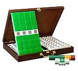 SMSOM Conjunto de Juegos de Mahjong Chino, con 144 Azulejos y Cajas de Madera y palitos de apuestas (para Juegos de Juego de Estilo Chino) (Color : Green, Size : 40mm)